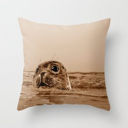 The SEAL - sepia 17 Throw Pillow