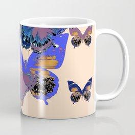 BLUE-PUCE PURPLE  BUTTERFLIES  CREAM COLOR ART Coffee Mug