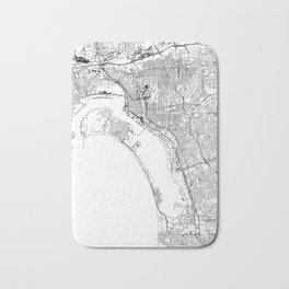 San Diego White Map Bath Mat