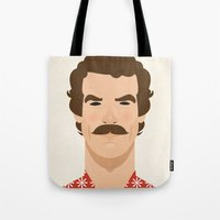tom selleck Tote Bags featuring Tom Selleck by Sezgi Abat