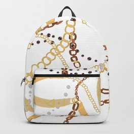 Golden Belt, Ropes and Chains Trendy Pattern Backpack