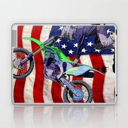 High Flying Freestyle Motocross Rider & US Flag Laptop & iPad Skin