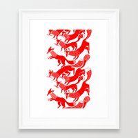 foxes Framed Art Prints featuring FOXES by Riku Ounaslehto