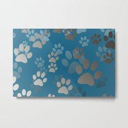Footprint Animal turquoise Metal Print