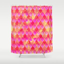 Squama Fish Pattern Flowe-of-Life Shower Curtain
