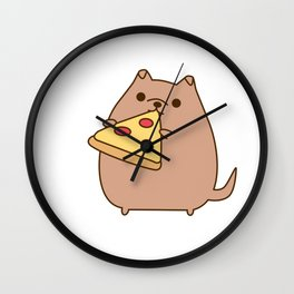 Pupsheen Eating Pizza Wall Clock