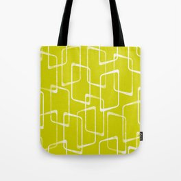 Lime Green Retro Geometric Pattern Tote Bag