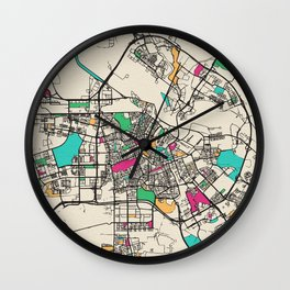 Colorful City Maps: Amsterdam, Netherlands Wall Clock