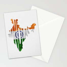 India World Map / Indian Typography Flag Map Art Stationery Cards