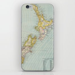 Vintage Map of New Zealand (1883) iPhone Skin
