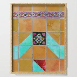 Fredericksburg Texas Vintage Ceramic Tile Pattern - Warm Gold and Aqua Blue Serving Tray