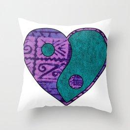 Yin and Yang Heart Throw Pillow