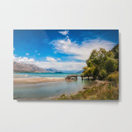 Unspoiled alpine scenery at Kinloch Wharf, New Zealand Metal Print