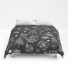 Christmas pattern, white line, gray background. Winter holiday illustration. Comforters