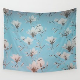 Floral Wallpaper Blue Wall Tapestry
