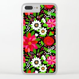 Christmas Flowers and Holly, Poinsettia, Roses and Lilies, holidays, girls floral gift, gift for mom Clear iPhone Case