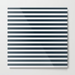 Stripes - Navy + White Metal Print