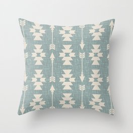 Southwestern Arrow Pattern 249 Turquoise and Beige Throw Pillow