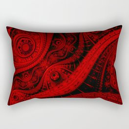 Red & Black Abstract Pattern Rectangular Pillow