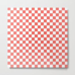 Coral and White Checkers Metal Print