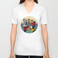 band V-neck T-shirts featuring Star Trek Jam Band by Jessica Fink