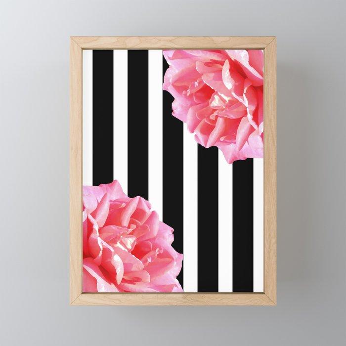 Pink roses on black and white stripes Framed Mini Art Print