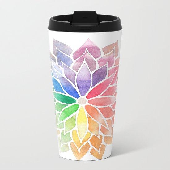 Multicolor Mandala Metal Travel Mug