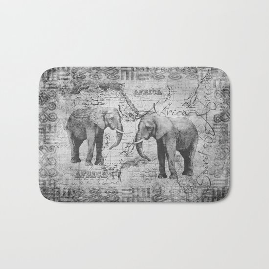 African Spirit Vintage Elephant black white Bath Mat