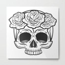 Vintage human skull with rose flowers concept illustration Metal Print