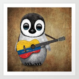 Baby Penguin Playing Colombian Flag Acoustic Guitar Art Print