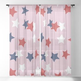 Little 4th of July stars American national holiday celebration pattern pink Sheer Curtain