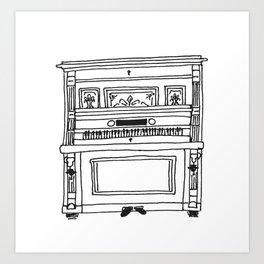 nanna's antique piano  Art Print