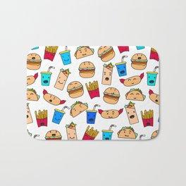 Kawaii Fast Food Burger Fries Taco Pattern White Bath Mat