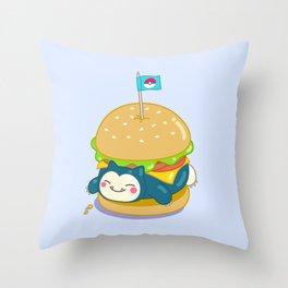 Snorlax Burger Throw Pillow