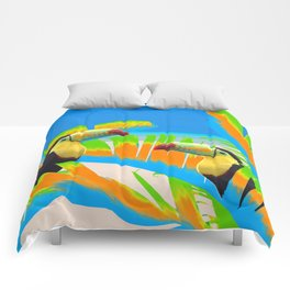 Colorful Toucans Tropical Banana Leaves Pattern Comforters