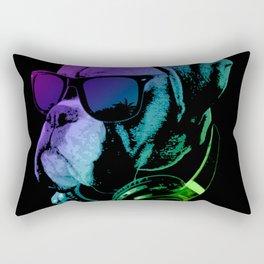 DJ Boxer Dog In Neon Lights Rectangular Pillow