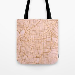 Pink and gold Mexico city map Tote Bag