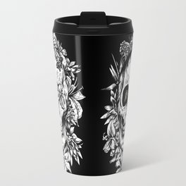 floral skull drawing black and white 2 Travel Mug