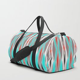 ikat geo in bright turquoise and a splash of red Duffle Bag