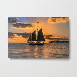 Sunset Sail and Plane Metal Print