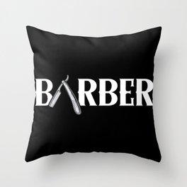 Barber Graphic Design Text Throw Pillow