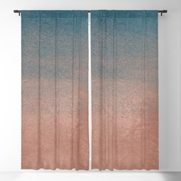 Abstract peacock blue coral ombre watercolor Blackout Curtain