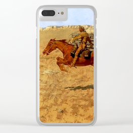 "Frederic Remington Western Art ""Pony Express"" Clear iPhone Case"