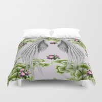 angel wings Duvet Covers featuring angel wings by karens designs