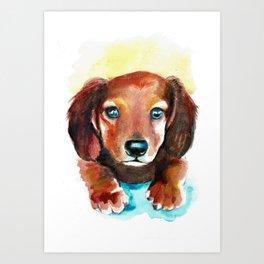 Dachshund Watercolor Painting Art Art Print
