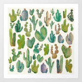 Summer Watercolor Cactus Art Print