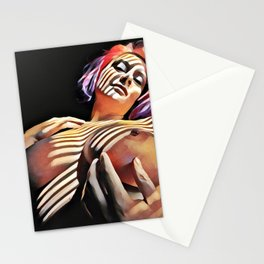 2376s-JG Jessica Striped in Light, Beautiful Big Bare Breasts Stationery Cards