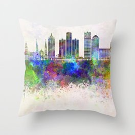 Detroit skyline in watercolor background Throw Pillow