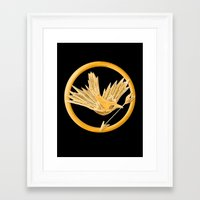 mockingjay Framed Art Prints featuring Mockingjay by AriesNamarie