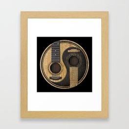 Aged Vintage Acoustic Guitars Yin Yang Framed Art Print